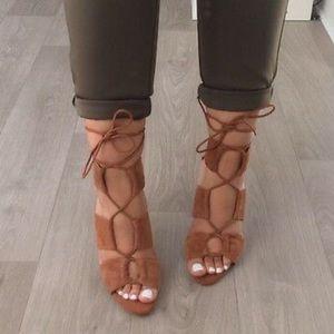 Zara Cognac Lace Up Suede Heels